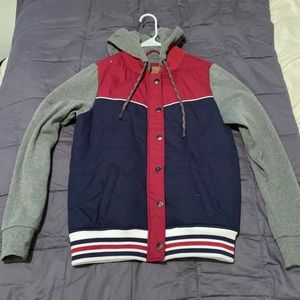 Gray, blue and red jacket